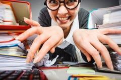 Szalony zadowolony księgowego bizneswoman Zdjęcie Stock
