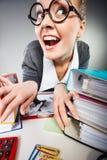 Szalony zadowolony księgowego bizneswoman Fotografia Stock