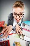 Szalony zadowolony księgowego bizneswoman Obraz Stock
