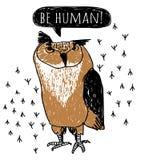 Szalonych śmiesznych doodles ptasia sowa na bielu Zdjęcie Stock