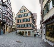 Szalunek chałupy Rozjarzone Lampowe żaluzje Grżą Niemiecki Europejski Starego Ho Zdjęcie Royalty Free