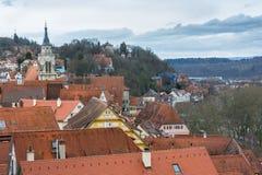 Szalunek chałupy Rozjarzone Lampowe żaluzje Grżą Niemiecki Europejski Starego Ho Zdjęcia Stock