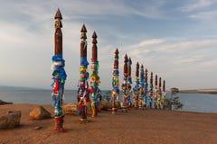 Szamanów totemy na Olhon wyspie, Baikal, Rosja Obrazy Royalty Free