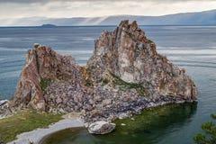 Szaman skała, Jeziorny Baikal w Rosja Obraz Royalty Free