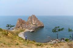 Szaman skała w wczesnym poranku baikal jeziora baikal jezioro olkhon Rosji wyspy Rosja Zdjęcie Royalty Free