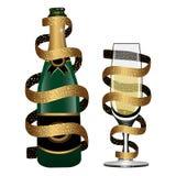 Szampańska butelka i szkło iskrzasty wino zakrywający złotym faborkiem odizolowywającym na białym tle wektor royalty ilustracja