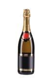 Szampańska butelka z złotym wierzchołkiem. Zdjęcia Royalty Free