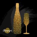 Szampańska szkła i butelki wektoru ikona Złotego błyskotania szampański szkło na czarnym tle royalty ilustracja