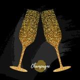 Szampańska szklana wektorowa ikona Złotego błyskotania szampańscy szkła na czarnym tle royalty ilustracja