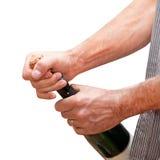 szampański ręk mężczyzna otwarcie Zdjęcie Royalty Free