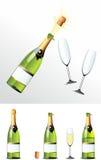 Szampański butelka korek, szkła i ilustracja wektor