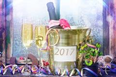 Szampański Nowy Year& x27; s wigilia, nowy rok 2017 Zdjęcie Royalty Free