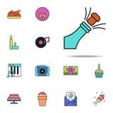 szampan barwiona ikona Urodzinowy ikony ogólnoludzki ustawiający dla sieci i wiszącej ozdoby ilustracja wektor
