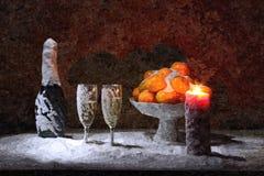 Szampan i tangerines w śniegu święta bożego życie wciąż Malować mokrą akwarelę na papierze Naiwna sztuka sztuka abstrakcyjna ilustracji