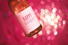Szampan lub wygrana z teksta wszystkiego najlepszego z okazji urodzin Wszystkiego Najlepszego Z Okazji Urodzin partyjny tło urodz Fotografia Stock