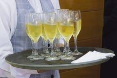 szampan obramiający szkła obramiać strzelali Fotografia Royalty Free