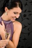szampana sukni napoju szkła przyjęcia kobieta Obraz Stock