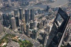 SZANGHAJ †OKOŁO WRZESIEŃ 2017 ': Szanghaj pejzażu miejskiego linii horyzontu birdoka W centrum widok Obrazy Stock