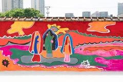 SZANGHAJ, CHINY MAY 2017: Szanghaj spaceru obrazu uliczna ściana blisko Laoximen staci metru Obraz Stock