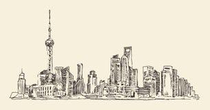 Szanghaj, Chiny, miasto architektura, rocznik ilustracja, grawerował retro styl, ręka rysująca, nakreślenie, Obraz Stock