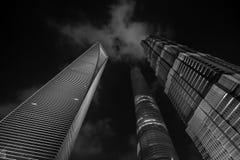 Szanghaj ditrict nocy Pieniężny widok w Czarny I Biały Obraz Stock