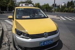 Szanghaj koloru żółtego taksówka Fotografia Royalty Free