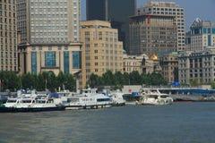 Szanghaj landmarkï ¼ ŒShip w Huangpu rzece Obraz Stock