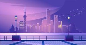 Szanghaj miasta bulwar ilustracji
