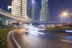 Szanghaj miasta drogi światła ślada Fotografia Royalty Free