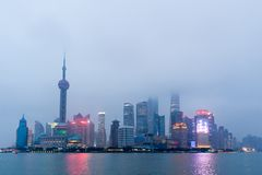 Szanghaj miasta linia horyzontu przy zmierzchem Fotografia Stock