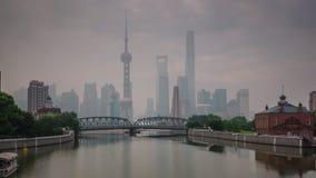 Szanghaj miasta ranku mgły rzeki zatoki mosta panoramy 4k czasu upływu porcelana zdjęcie wideo