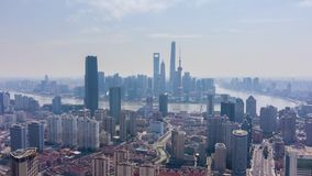 Szanghaj Miasto Miastowy Lujiazui linia horyzontu przy słonecznym dniem Chiny widok z lotu ptaka zbiory wideo
