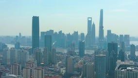 Szanghaj Miasto Miastowy Lujiazui okręg przy słonecznym dniem Chiny widok z lotu ptaka zbiory wideo