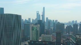 Szanghaj Miasto Miastowy Lujiazui pejzaż miejski przy słonecznym dniem Chiny widok z lotu ptaka zbiory