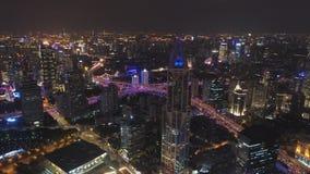 Szanghaj miasto przy noc? Huangpu pejzaż miejski Chiny widok z lotu ptaka zbiory