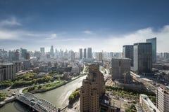 Szanghaj pejzaż miejski, wysokiego kąta widok Obraz Stock