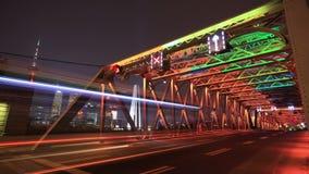 Szanghaj ruch drogowy przy nocą, Chiny (czasu upływ) zbiory wideo