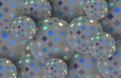 Szara błękitna żółtej mozaiki sfer 3d ilustracja t?a abstrakcjonistyczny shimmer ilustracji