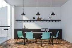 Szara countertop kuchnia z błękitnymi krzesłami royalty ilustracja