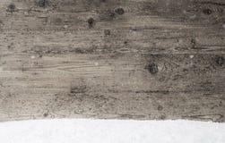 Szara Drewniana tekstura, tło Z kopii przestrzenią, płatki śniegu fotografia royalty free