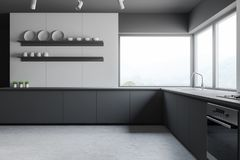 Szara i drewniana panoramiczna kuchnia z półkami ilustracji