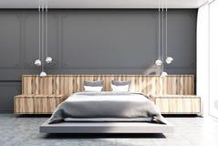 Szara i drewniana sypialnia, szary łóżko ilustracja wektor