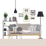 Szara kanapa z stolik do kawy i stojak z podłogową lampą w skandynawie projektujemy Z obrazkami, roślinami i poduszkami, ilustracji