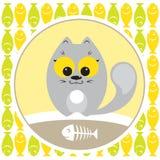 Szara kota łasowania ryba Zdjęcie Royalty Free