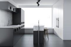 Szara loft kuchnia z barem, boczny widok ilustracji
