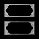 Szara obrazek rama na czarnej tło teksturze Zdjęcie Stock