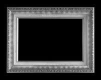 Szara obrazek rama na czarnym tle Fotografia Stock