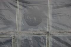 Szara plastikowa tekstura od mokrego celofanu na starym okno zdjęcie royalty free