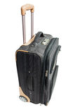Szara walizka dla podróży z kombinacja kędziorkiem odizolowywa na białym tle Zdjęcie Stock
