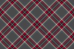 Szarej czerwonej diagonalnej czek tkaniny tekstury bezszwowy wzór Fotografia Royalty Free